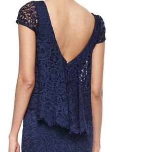 Theia NWT Navy Lace Full Length Gown Size 4
